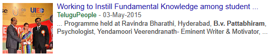 2015-05-03 - Working to Instill Fundamental Knowledge among student community - Telugu People