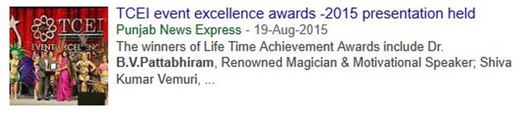 2015-08-19 - TCEI event excellence awards -2015 presentation held - Punjab News Express