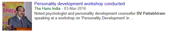 2016-03-03 - Personality development workshop conducted - The Hans India - Thumb